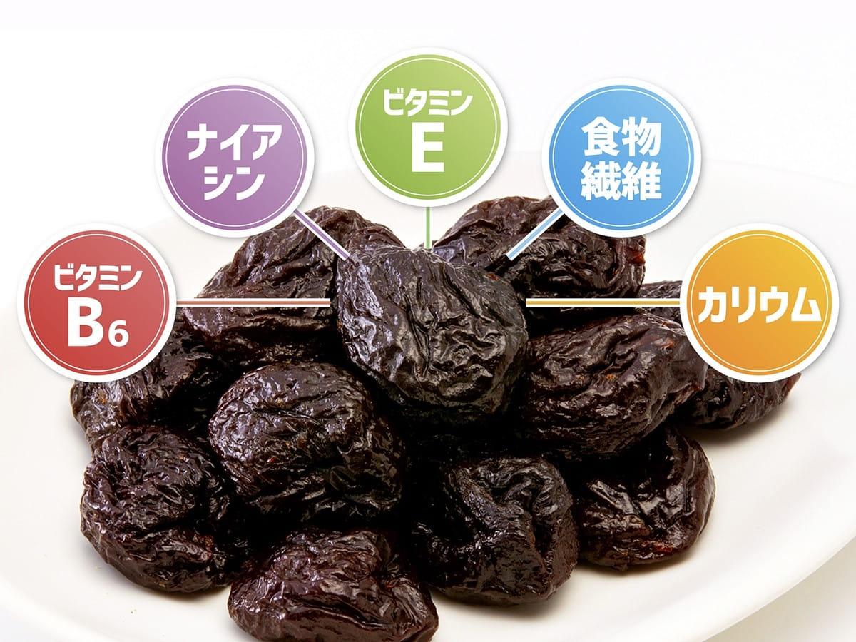 プルーン 栄養 健康 美容 効果 食物繊維 カリウム ビタミンE ナイアシン ビタミンB6